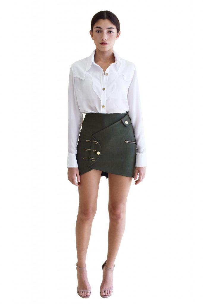 military skirt front white