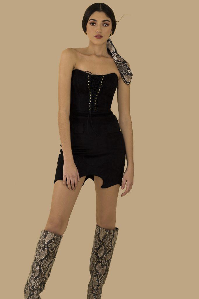 black cowgirl mini front closeup