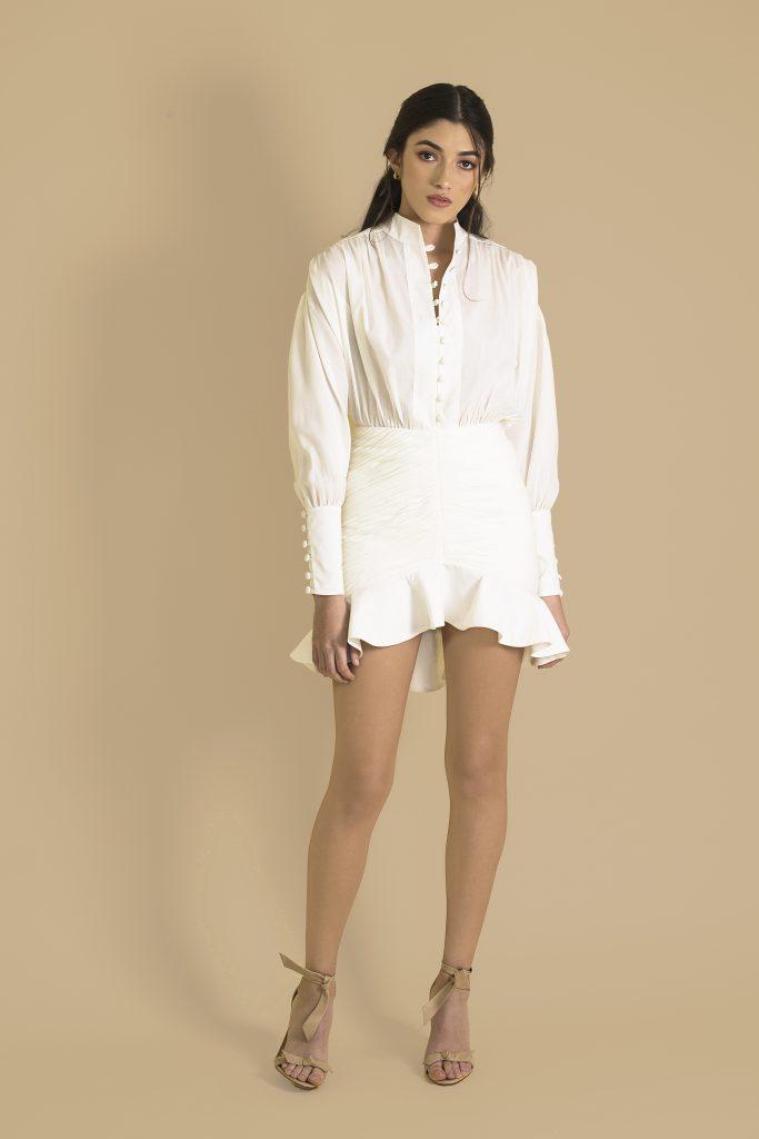 white popelin dress front